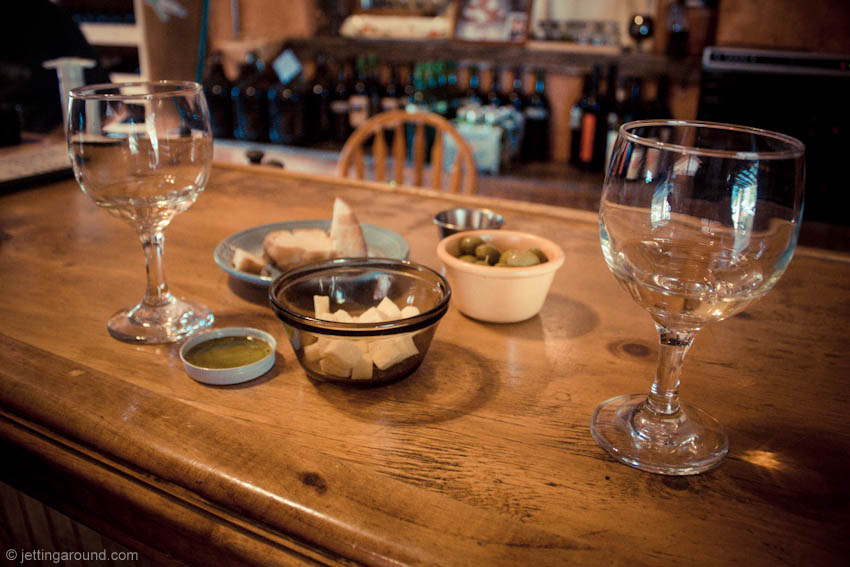 Wine at Casa Vieja is served with cheese, olives, bread and olive oil
